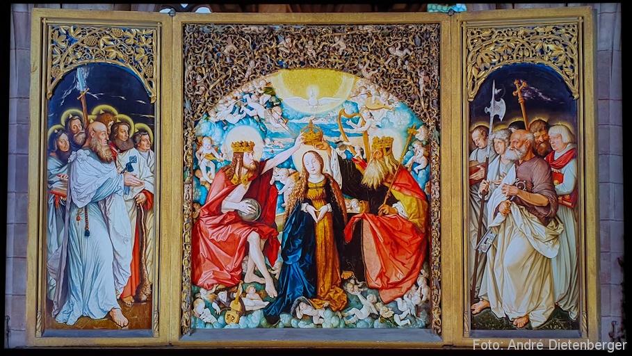 Freiburger Hochaltar, Innenansicht, Marienkrönung ((1516)