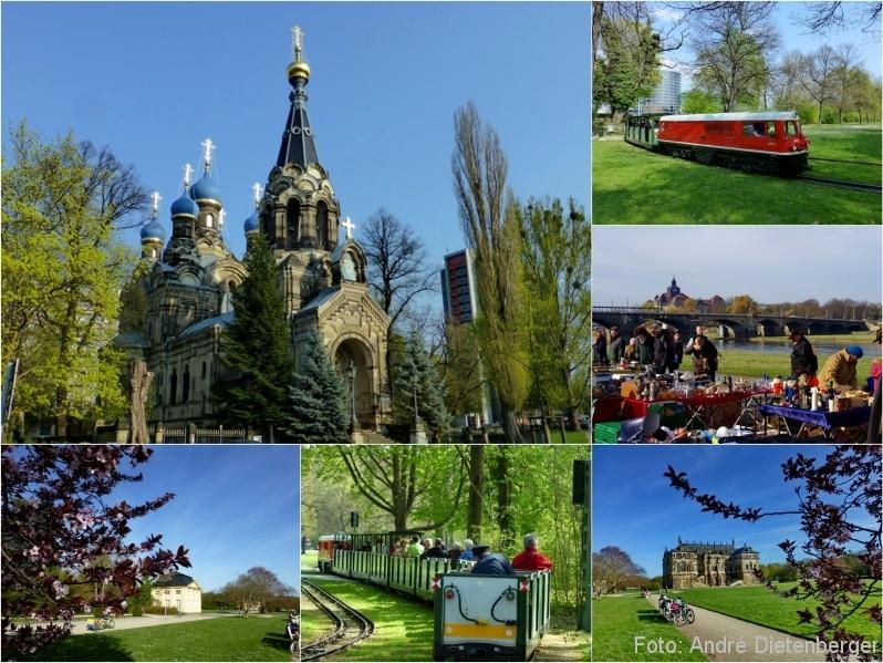 Dresden - Russisch-Orthodoxe Kirche, Elbeflohmarkt, Großer Garten mit der Parkbahn