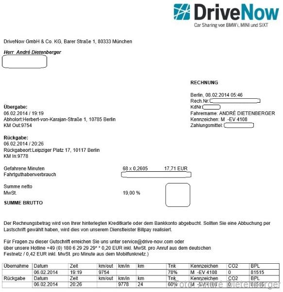 drivenow rechnung neues minutenpaket von drivenow sixt. Black Bedroom Furniture Sets. Home Design Ideas