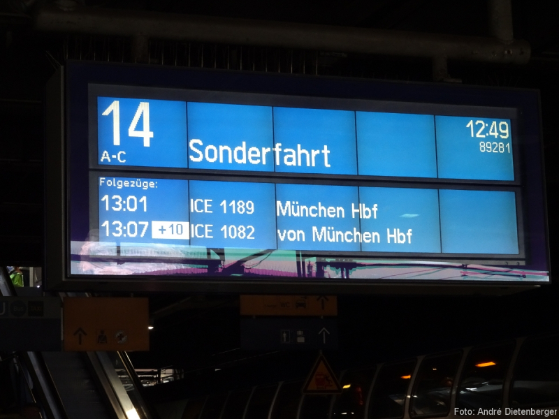 ICE 4 Probefahrt - Aneigetafel Sonderfahrt