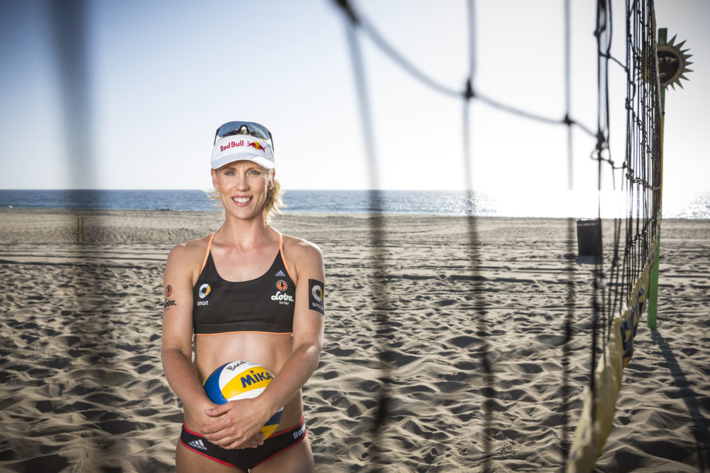 Karla Borger poses for a portrait at the Hermosa Beach Volleyball Courts in Hermosa Beach, California, USA on 18 March 2015.